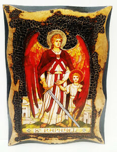 Raphael-Angel-Handmade-Wood-Icon-on-plaque-with-physical-aging-amp-Golden-Leaf-24K