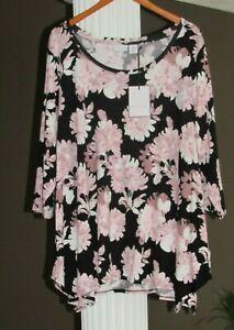 TABITHA-WEBB-Black-Blush-White-Floral-3-4-Sleeve-Tunic-Top-Size-1X-NWT