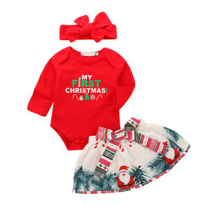6651d81d4 Image is loading Xmas-Girls-Baby-Romper-Skirt-Headband-Outfits-Sets-