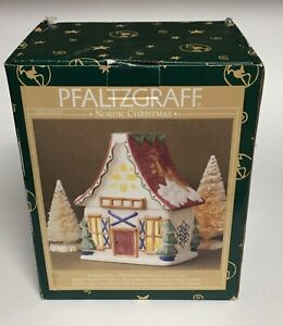 Pfaltzgraff-Nordic-Christmas-Sculpted-Pierced-Ski-Chalet-Holiday-Lite-w-Tea-Lite