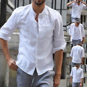 Men-039-s-Linen-Half-Sleeve-T-Shirt-Collarless-Grandad-Tops-Blouse-Crew-Neck-T-Shirt
