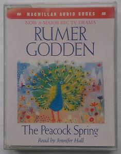 RUMER-GODDEN-THE-PEACOCK-SPRING-READ-JENNIFER-HALL-2-CASSETTE-1996-3-HR-NR-MINT