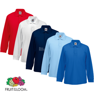 Fruit-of-the-Loom-Enfants-a-Manches-Longues-Polo-Shirt-Smart-Col-Couleurs-Kids