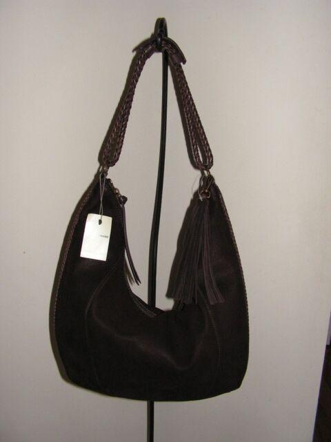 Lucky Brand Myra Hobo Shoulder Bag Java Nubuck Dark Brown Leather Handbag Nwt