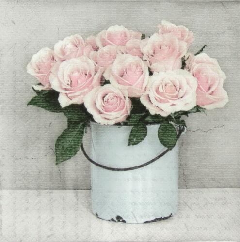 4x Paper Napkins for Decoupage Decopatch Craft Sagen Rose Bucket