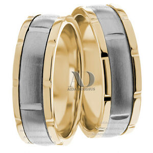 image is loading two tone solid 10k gold matching wedding band - His And Her Wedding Ring Set