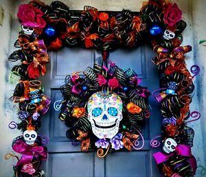 24-034-Halloween-Wreath-amp-9-039-Ft-Garland-Deco-Mesh-Day-of-the-Dead-Door-Decor