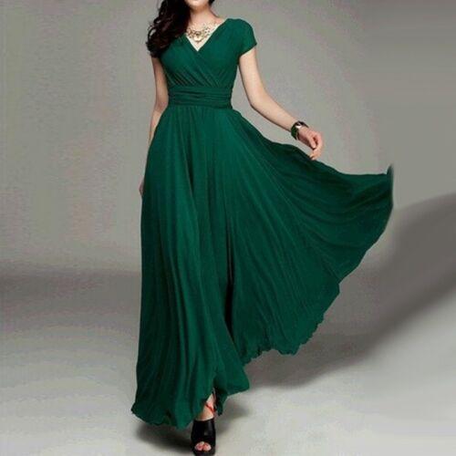 Damen Kleid Kuzrarm Abendkleid lang kleid Party V-Ausschnitt Brautjungfern S-5XL