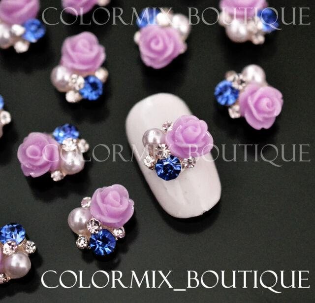 10pcs 3D Purple Rose Nail Art Decoration Alloy Jewelry Glitter Rhinestone #CA035