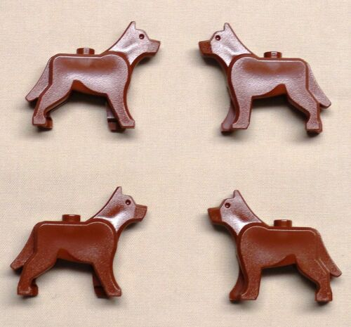 x4 NEW Lego Dog Wolf Animal Minifig REDDISH BROWN