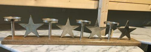 Kerzenhalter Blatt Mango Dekoration Alu Holz Wohnen Tischdeko Flur Skulptur