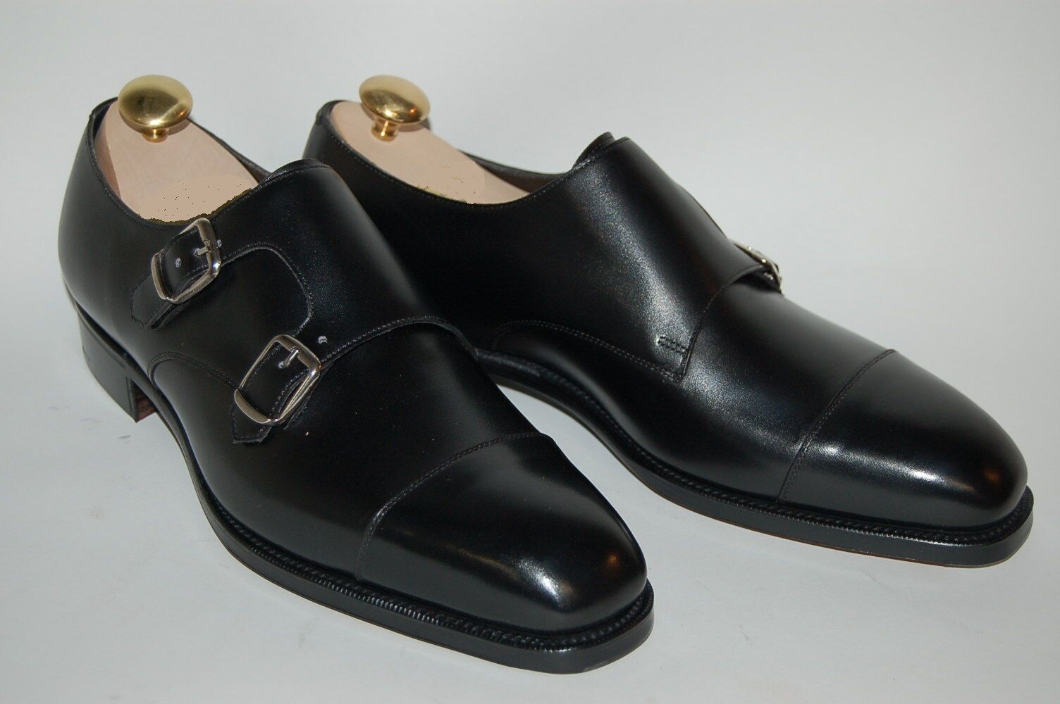 Handmade men nero double monk scarpe, Men nero formal scarpe, Men oxford scarpe