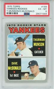 1970-Topps-189-Thurman-Munson-Rookie-RC-Yankees-HOF-PSA-6-NICELY-CENTERED