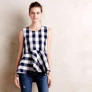 Anthropologie HD in Paris Navy Blue & White Buffalo Check Cotton Peplum Top 2 XS