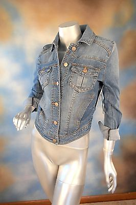 NEW $78 AQUA blue jean denim medium wash high low jacket coat SZ: S