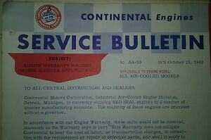 Continental Air-Cooled Engine Service Bulletins Manual Garden Tractor 38pg 1954-