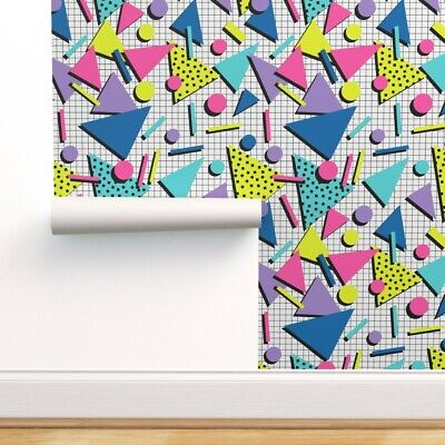 Removable Water-Activated Wallpaper 80S Memphis Retro Graphic New Wave
