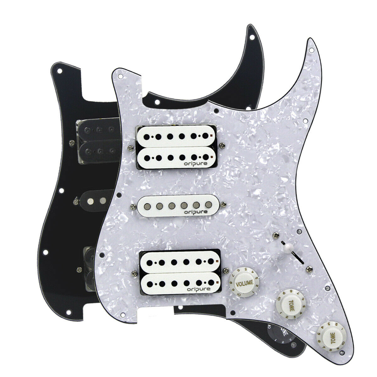 1Ply Aluminum Golden OriPure 11 Hole Prewired Strat Pickguard with Alnico 5 Single Coil Pickup Humbuckers Set for Fender American//Mexican Stratocaster Standard Modern Style