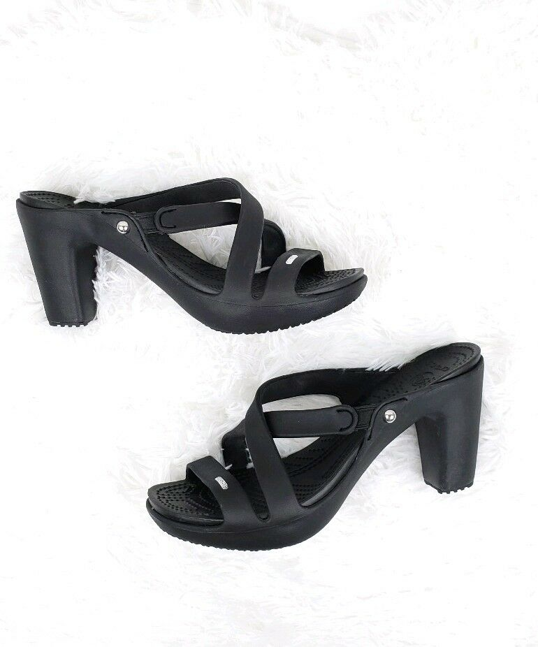 Crocs Cyprus IV Womens Size 10 Black Black Black Strappy Heels f3908a