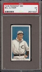 Rare 1909-11 T206 Bill Clymer Piedmont 350 Columbus Minor League PSA 5 EX