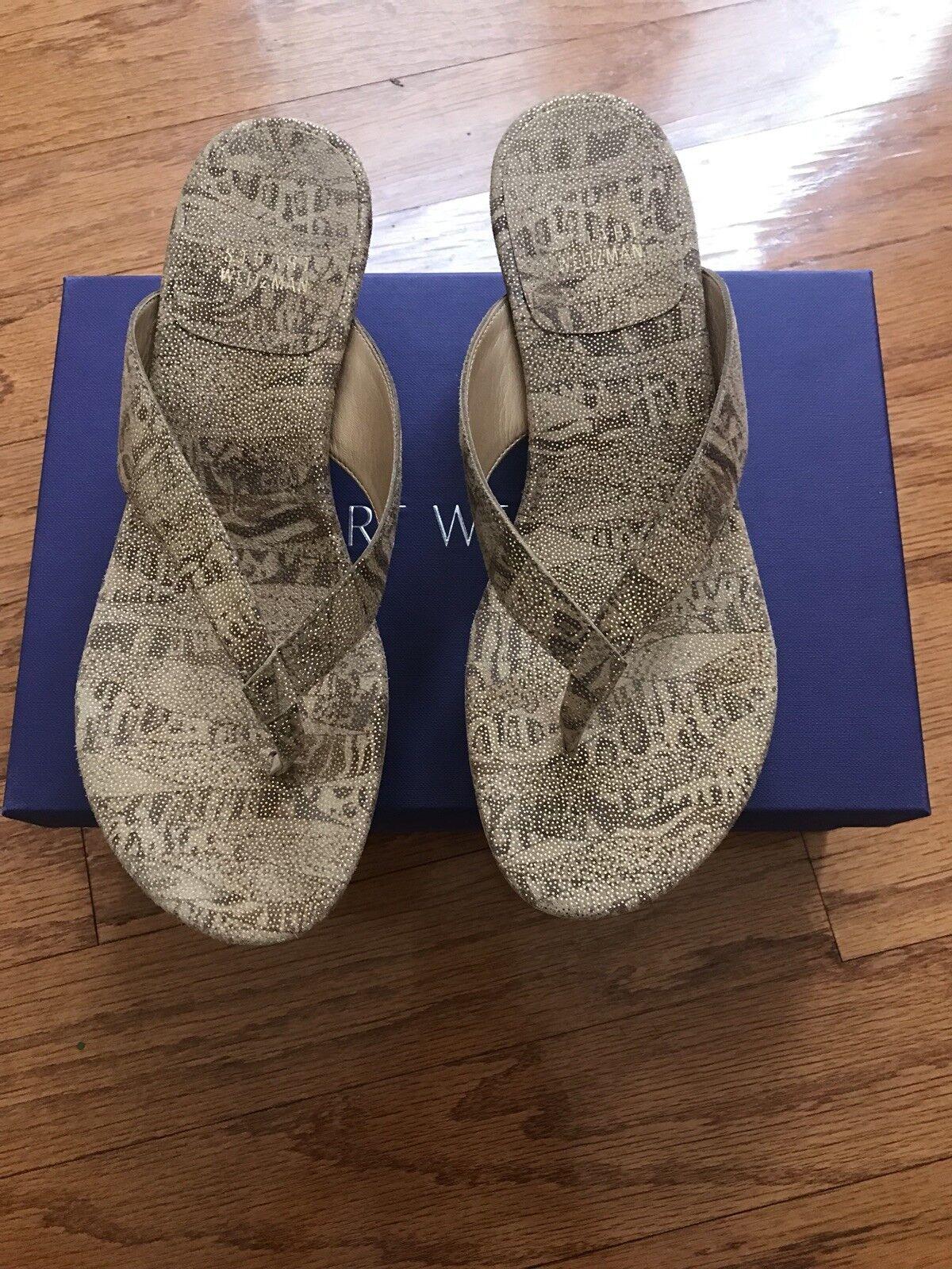 New STUART WEITZMAN gold Animal Print Wedge Sandal Size 7 7 7 8c31ac