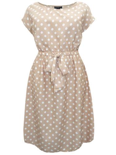 Eaonplus Beige Stone Polka-dot à mancherons tea dress