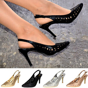 2e72679349 Sling Back Stiletto Heel Shoes Ladies Pointed Toe Courts Diamante ...