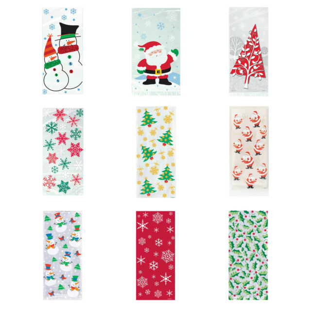 CHRISTMAS XMAS CELLOPHANE CELLO PARTY BAGS LOOT GIFT SWEET BAG STOCKING FILLERS