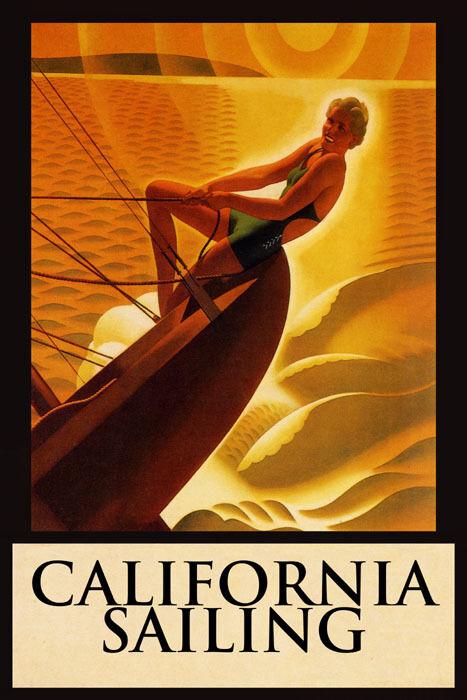 GIRL SAILBOAT SAILING CALIFORNIA VACATION SPORT TRAVEL VINTAGE POSTER REPRO