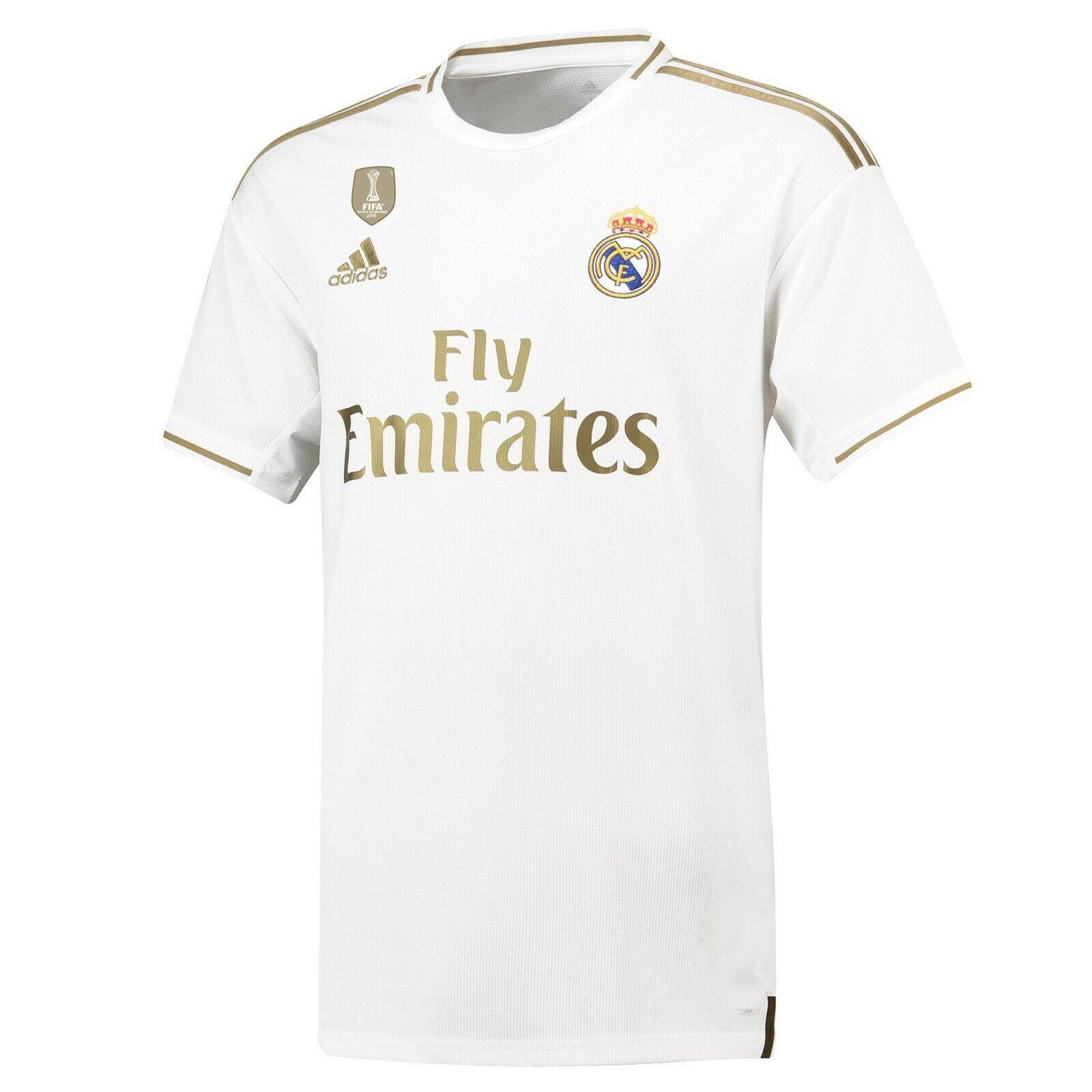 F80 mannens Groot Real Madrid Home Shirt 2019-20 VRIJ La Liga Badges
