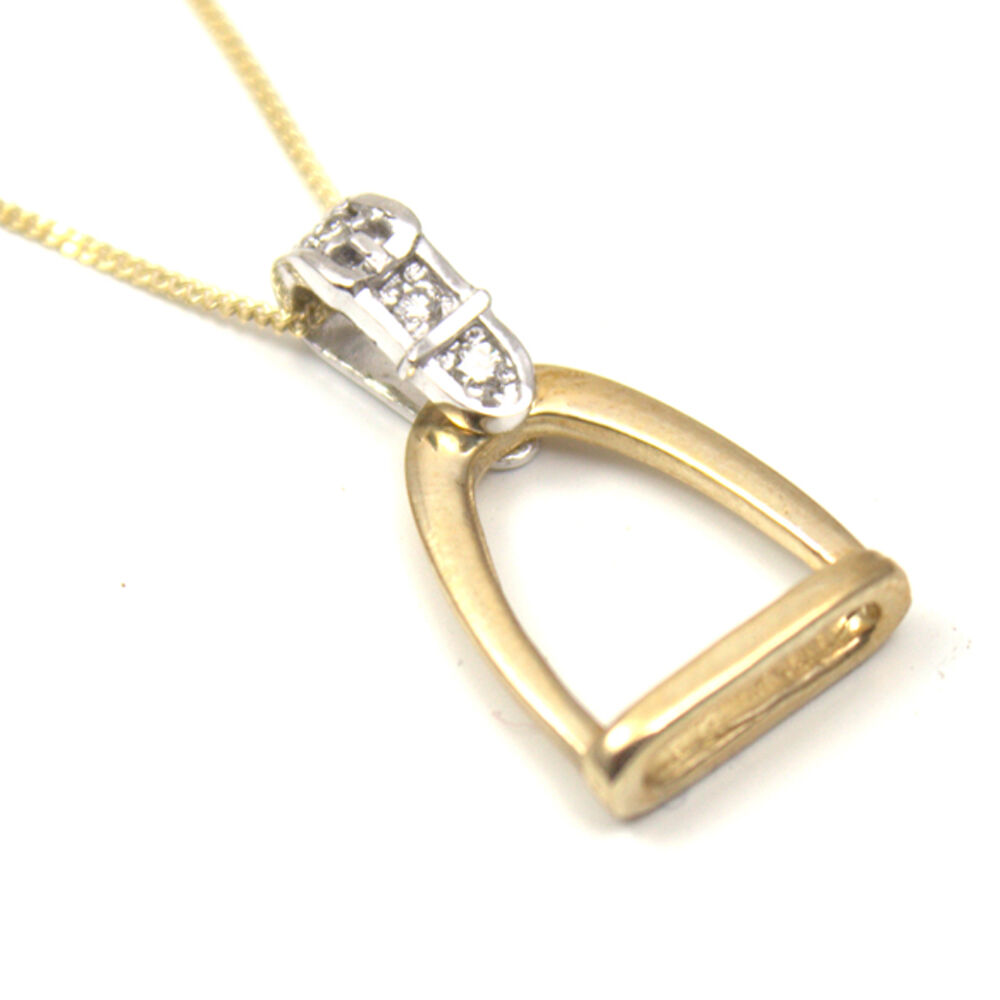 Stirrup Pendant gold With  Diamonds  fast delivery
