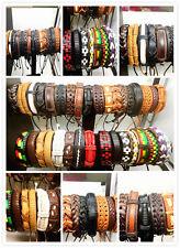 Wholesale 100pcs Mixed Style Men Vintage Leather Surfer Cuff Wristband Bracelets