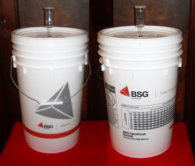 BUCKET KIT 2X 6.5 GAL BEER MAKING KIT w/ LIDS + AIRLOCKS HOME BREWING WINEMAKING