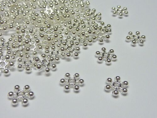 100 pce Metal Bright Silver Snowflake Spacer Beads 8mm Jewellery Making Craft