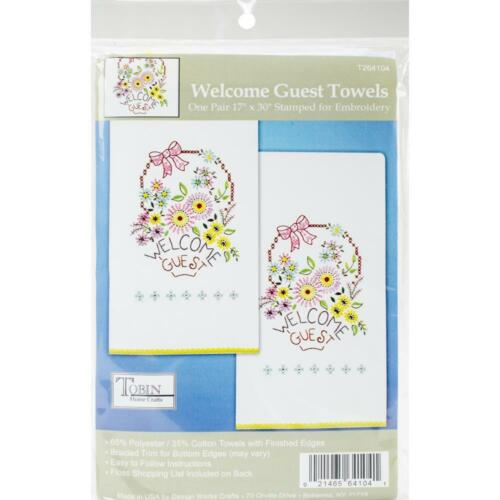 TOBIN Hand Kitchen Towels for Stamped Embroidery WELCOME GUEST Set of 2
