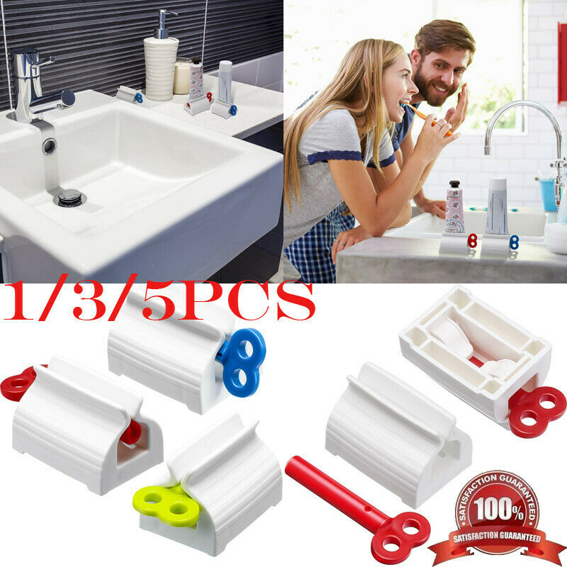 4 Toothpaste Squeezer Plastic Tube Bathroom Extract Dispenser Holder Rolling New