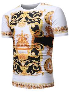 Vintage-Mens-Baroque-Angel-Short-Sleeve-Tee-Shirts-Casual-T-shirt-Tops-Blouse