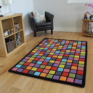 Teppich bunt retro  Ultra Modem Hochwertig 100% Wool Bunt Funky Quadrate Weich Dick ...