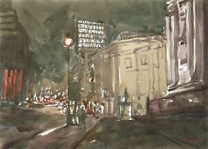 London-WATERCOLOUR-PAINTING-Cityscape-National-Gallery-Art-Steve-Greaves-Night