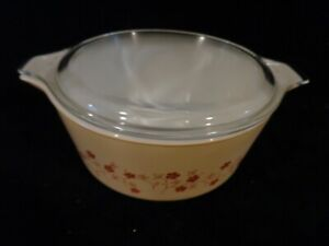 Rare Vintage Pyrex Promotional 475 -B Trailing Flowers Casserole Dish with Lid