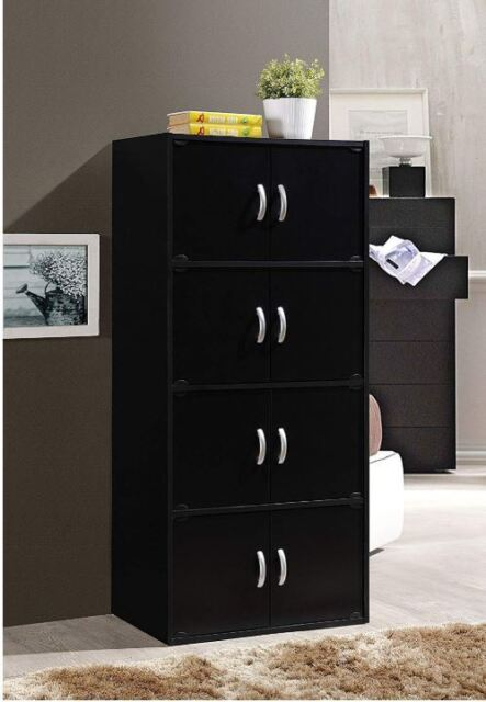 Tall Dresser Kids Bedroom Chest 8 Door Shelf Black Wall Cabinet Locker Furniture