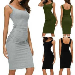 Women-039-s-Ladies-Sleeveless-Dress-Ruched-Bodycon-Sundress-Sling-Basic-Fitted-Dress