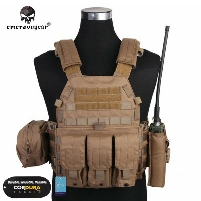 EMERSON Tactical Vest LBT6094A Plate Carrier w 3 Pouches Airsoft Gear Military