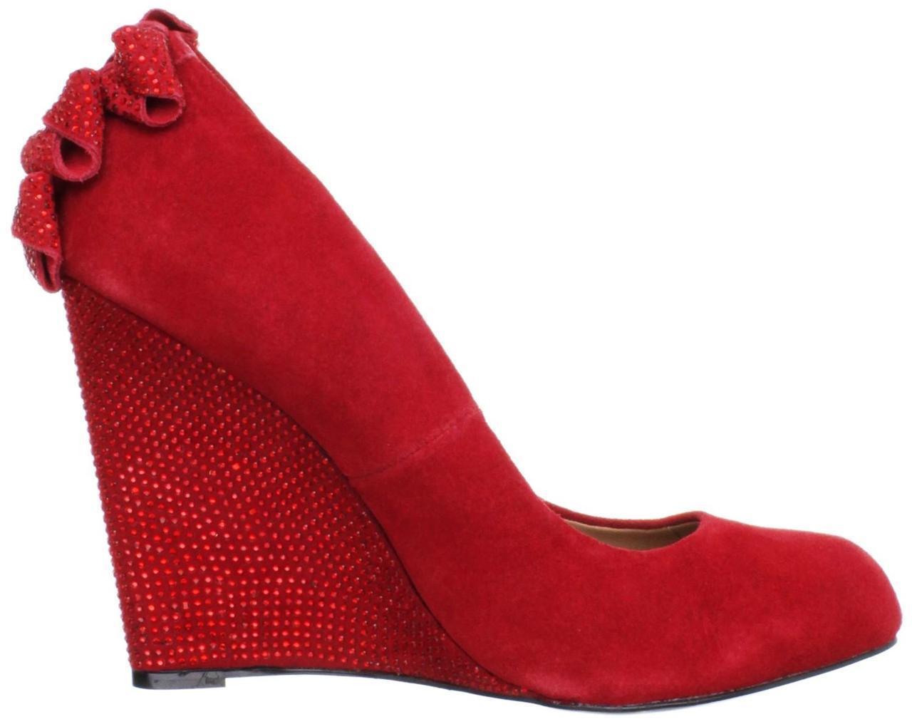 bellissima Donna    Betsey Johnson CHHASE Chase Platform Wedge Dress Pumps Heels rosso Suede  nuova esclusiva di fascia alta