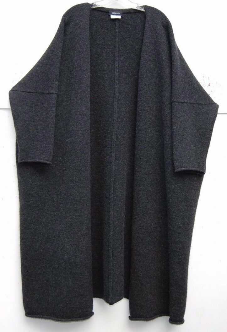 Eskandar CHARCOAL Heavy Weight Wolle 46  Lange Sweater Mantel w Pockets O S  2890