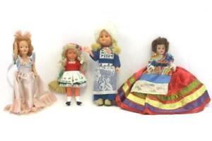 Lot-of-4-Vintage-Dolls-Ethnic-Handmade-Clothing-Dutch-Russian-More