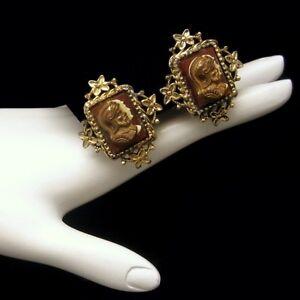 CORO-Vintage-Cameo-Clip-Earrings-Mid-Century-Heraldic-Knights-Design