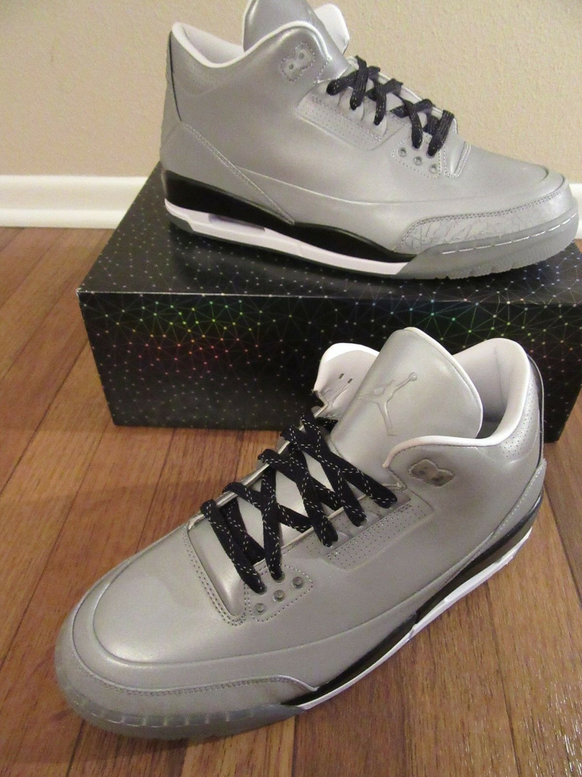 Nike air jordan 5lab3 dimensioni riflettono silver bianco nero 631603 003 s new pennino