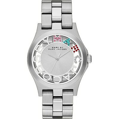 NEW MARC JACOBS MBM3262 SILVER LADIES HENRY SKELETON WATCH - 2 YEAR WARRANTY