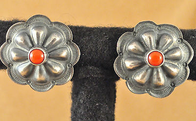 Sterling Silver Navajo Repousse Earrings Handmade By Andy Cadman Natural Coral